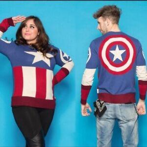 💫 Marvel Captain America Uniform Sweater NEW 2XL
