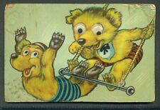 BEARS on TRAPEZE Movable MECHANICAL Eyes SQUEEZE SQUEAK VINTAGE UNUSED Postcard