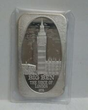 Very Rare Silver Art Bar USSC BIG BEN LONDON 1974 VINTAGE 1 TROY OZ .999