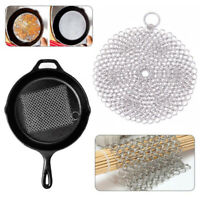 10x10cm Stainless Steel Ring Pan Brush Cleaner Chainmail Kitchen Tool Scrubber