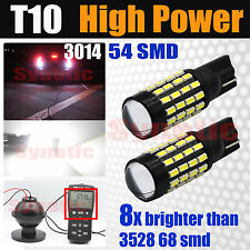2X T10/921/168 High Power LED White 570LM Backup Reverse Light Bulbs Projector