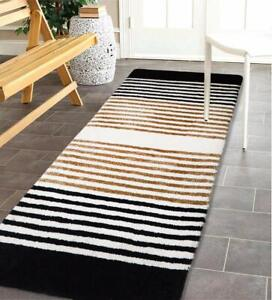 Black Gold Classy Modern Look Carpet Of 50 x 150 cm With Stripes - Pack of 1 Pc