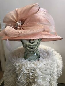 Emma B Balfour wedding formal races hat natural Powder Pink with lovely detail