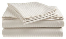 King Size White 400 Thread Count 100% Cotton Sateen Dobby Stripe Sheet Set