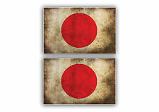 Dirty warn japan flag x 2 Car Sticker size 10cm x 6cm