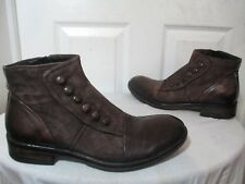 JO GHOST MEN'S BROWN LEATHER BUTTONS/ZIPPER ANKLE BOOTS SZ 41 US 8 MADE IN ITALY
