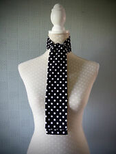 Black and white polka dot thin scarf, skinny scarf, spotted mod scarf