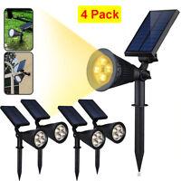 4x 250LM 4 LED Solar Power Spot Light Outdoor Garden Lamp Wall Lights Warm White