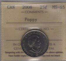 2008 Canada POPPY Twenty-Five Cents Coin. Quarter. ICCS MS-65