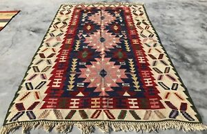 Authentic Hand Knotted Vintage Turkish Wool Kilim Kilm Area Rug 8 x 5 Ft