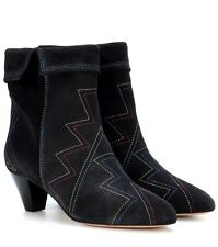 ISABEL MARANT Black Dyna Suede Ankle Boots Black Suede Low Heel Booties 40