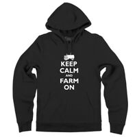 Mens Keep Calm and Farm On Funny Farmer Tractor Shirt Hoodie Ranch Country