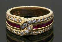 Heavy 18K gold 1.20CTW VS diamond/ruby band/cocktail ring size 6.25