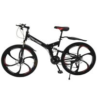 26in Folding Mountain Bike 21 Speed Bicycle Full Suspension MTB Bikes U