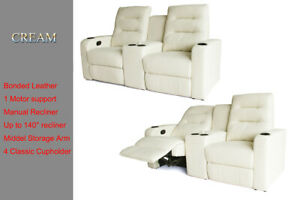 Manual Recliner Chair Sofa Lounge 2 Seater Storage Middle Armrest Bonded Leather