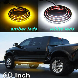 2x 60'' Truck Running Board Side Step LED Light Strip Amber & White Turn Signal