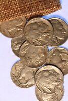 TEN FULL DATE BUFFALO NICKELS IN A BURLAP SACK, PLUS BONUS COINS, NICE COINS!