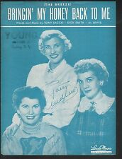 The Breeze That's Bringin My Honey Back to Me 1934 Andrews Sisters Sheet Music