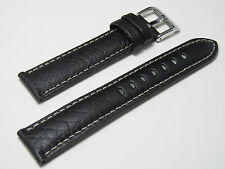 20mm Hadley-Roma MS906 Mens Black Leather Watch Band Strap