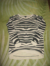 Damen Sweater Amisu S  lang Zebra beig schwarz  hinten länger
