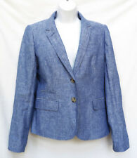 J CREW Schoolboy Womens Blue Linen Crosshatch Blazer Suit Jacket Sport Coat 10 L