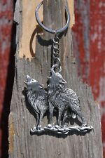 Hastings Pewter Co Lead Free Pewter Howling Wolves Keychain wolf key chain NEW