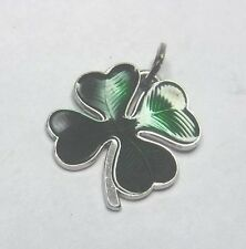 "Vintage Beau 5/8"" Sterling Silver Enameled Green Lucky Four Leaf Clover Charm"
