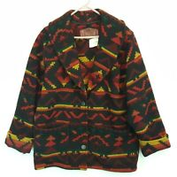 Vtg Woolrich Women's Wool Southwest Aztec Shawl Jacket Coat Sz Medium M USA