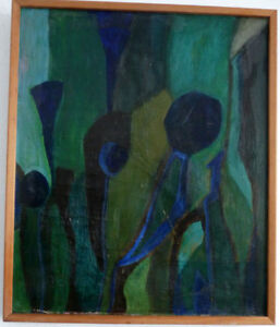 Abstract Composition IN Blue and Green, Middle 20. Jh Signed: No Oil On Le