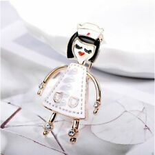 Cute White Pearl Women's Pin Brooch White Enamel Pearl Nurse Medic Caregiver