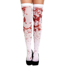 HALLOWEEN WHITE BLOOD STAINED STOCKINGS BLOODY ZOMBIE NURSE SCHOOL FANCY DRESS