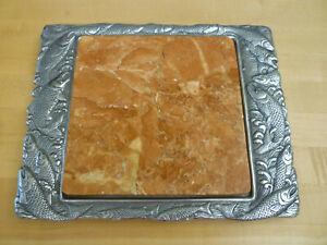 """Vintage 1988 Arthur Court 12""""x10"""" SALMON Marble Trivet Cheese Board Serving Tray"""