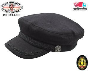 Breton Fisherman Sailor Captains Cap Mariner Lennon Fiddler Black Wool Hat New