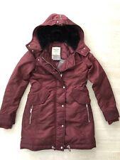 New Abercrombie & Fitch Women Shiny Fur Lined Hood Parka Coat Jacket-Burgundy XS