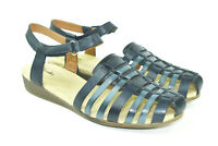 Clarks Women's Navy Blue Leather Strappy Comfort Sandals Size 10 Wide
