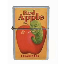 Red Apple Cigarette Worm Windproof Refillable Oil Lighter with Gift Box Art D 21