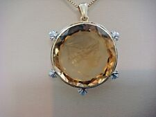 ANTIQUE 14K YELLOW GOLD CITRINE HANDMADE CAMEO PENDANT 11.3 GRAMS