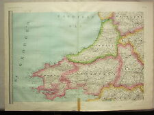 1868 HAND COLOURED MAP ~ WALES ~ PEMBROKE CARMARTHEN CARDIGAN GLAMORGAN