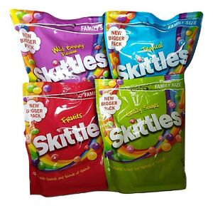 Skittles Sweets 4 Pack Family Sized - Crazy Sours, Fruits, Wild Berry, Tropical