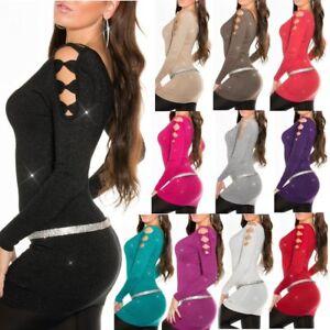 SeXy Miss Damen Trendy Long Pulli Schleifen Pullover Strick Glitzer Lurex XS/S