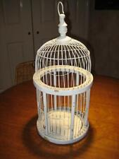 """Vintage Shabby Decorative White Wood & Wire Bird Cage ~ 18.5"""" Tall X 9"""" Wide"""
