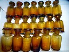 20 alte braune Apotheken Flaschen Glas Schliff Stopfen vintage medicine bottles
