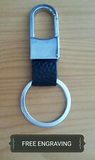 FREE ENGRAVING (PERSONALIZED) Metal Leather Belt Clip Keychain / Key Ring
