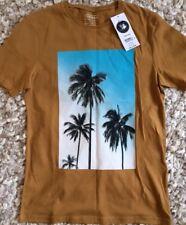 NEW TOPMAN XL men's tan slim fit palm tree print t-shirt top
