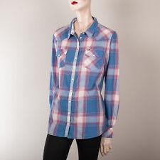 WRANGLER Damen Bluse XL 42 Blau Kariert Hemd Oberteil Top Casual Country Trend