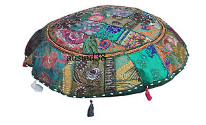 Ottoman Pouf Cover Indian Patchwork Floor Pouf Round Cushion Cover Home Decor