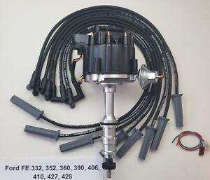 FORD FE 352 390 427 428 HEI DISTRIBUTOR +BLACK 8.5mm SPIRAL SPARK PLUG WIRES USA