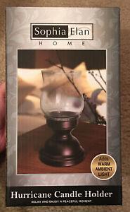 Sophia Elan Hurricane Glass Candle Holder Bronze Metal Base