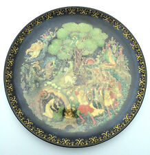 Palekh 1990 USSR Reproduction of Hand Painted Lacquer Plate Лукоморье Lukomorye