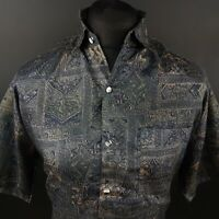 Mens Vintage Crazy Shirt RETRO 80s 90s Hawaiian XL Relaxed Abstract SILK